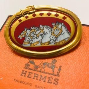Hermès 18k gold enamel brooch with box